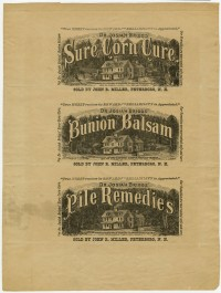 Dr. Josiah Brigg's Sure Corn Cure/Bunion Balsam/Pile Remedies. Uncut proof sheet of labels, ca. 1885. Photomechanical print. Gift of William H. Helfand.