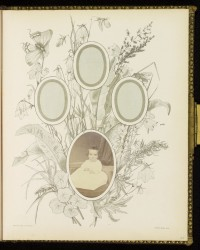 """Friends and Flowers."" An Album of Floral Groups Drawn From Nature and Arranged for Photograph Portraits. Belfast, Ireland: Marcus Ward & Co., 1876. Manufactured by William White Harding."