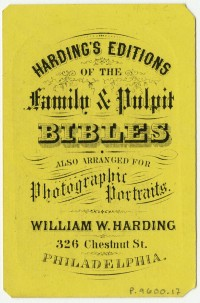 The Cheapest and Best. William W. Harding Photograph Albums, 326 Chestnut Street, Philada. Philadelphia, ca. 1865. Trade card printed in relief.