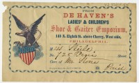 From De Haven's Ladies' & Children's Shoe & Gaiter Emporium. Philadelphia: Holland & Edgar, ca. 1861-63.