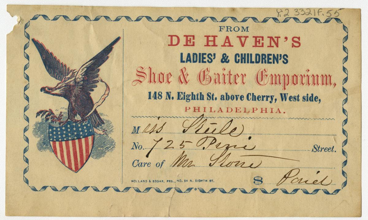 From De Haven's Ladies' & Children's Shoe & Gaiter Emporium. Philadelphia: Holland & Edgar, ca. 1861-63.