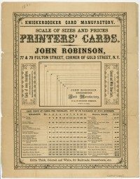 John Robinson. Knickerbocker Card Manufactory. Scale of Sizes and Prices. New York, ca. 1865-70. Gift of David Doret in memory of Rose and Leon Doret.