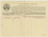 World's Dispensary Medical Association. An Earnest Request. Buffalo, ca. 1890. Gift of William H. Helfand.