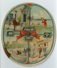 Mechanical calendar for New Jersey electrician Romaine Maice. New York, 1883. Chromolithograph. Gift of Helen Beitler.