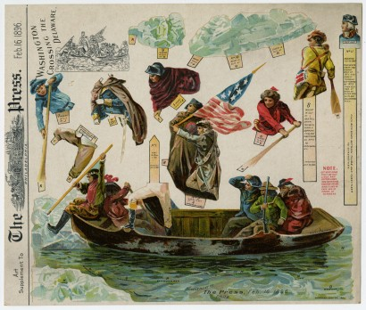 """Washington Crossing the Delaware."" Art supplement to The Philadelphia Press, February 16, 1896. Chromolithograph."