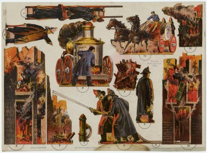"""Donaldson Bros. """"Fire Scene at Night."""" Art supplement to the Philadelphia Inquirer, February 2, 1896. Chromolithograph."""
