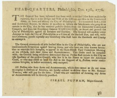 United States Continental Army. Head-Quarters, Philadelphia, Dec. 13th, 1776. Philadelphia, 1776.