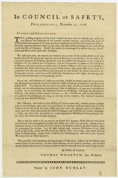 Pennsylvania Council of Safety. In Council of Safety, Philadelphia, December 23, 1776. Philadelphia: John Dunlap, 1776.