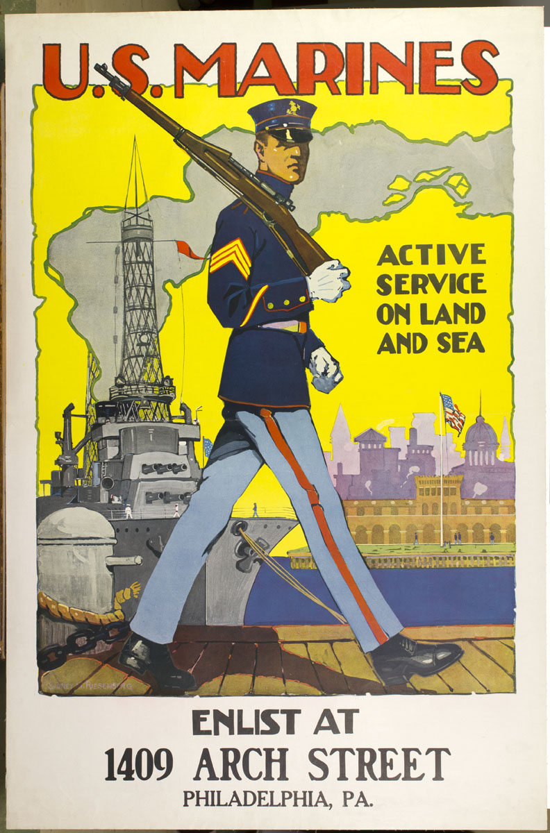 Sidney H. Riesenberg. U.S. Marines, Active Service on Land and Sea. United States, ca. 1917. Color photomechanical print.