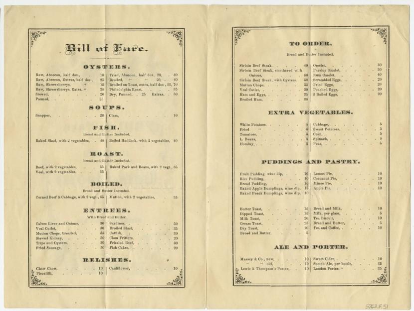 Bill of Fare of Jackson's Dining Rooms. Philadelphia: Samuel Loag, 1870s.