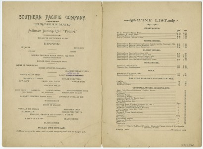 What's for Dinner? Pullman Dining Cars on the Central Route of the Southern Pacific Company.  California, 1892.