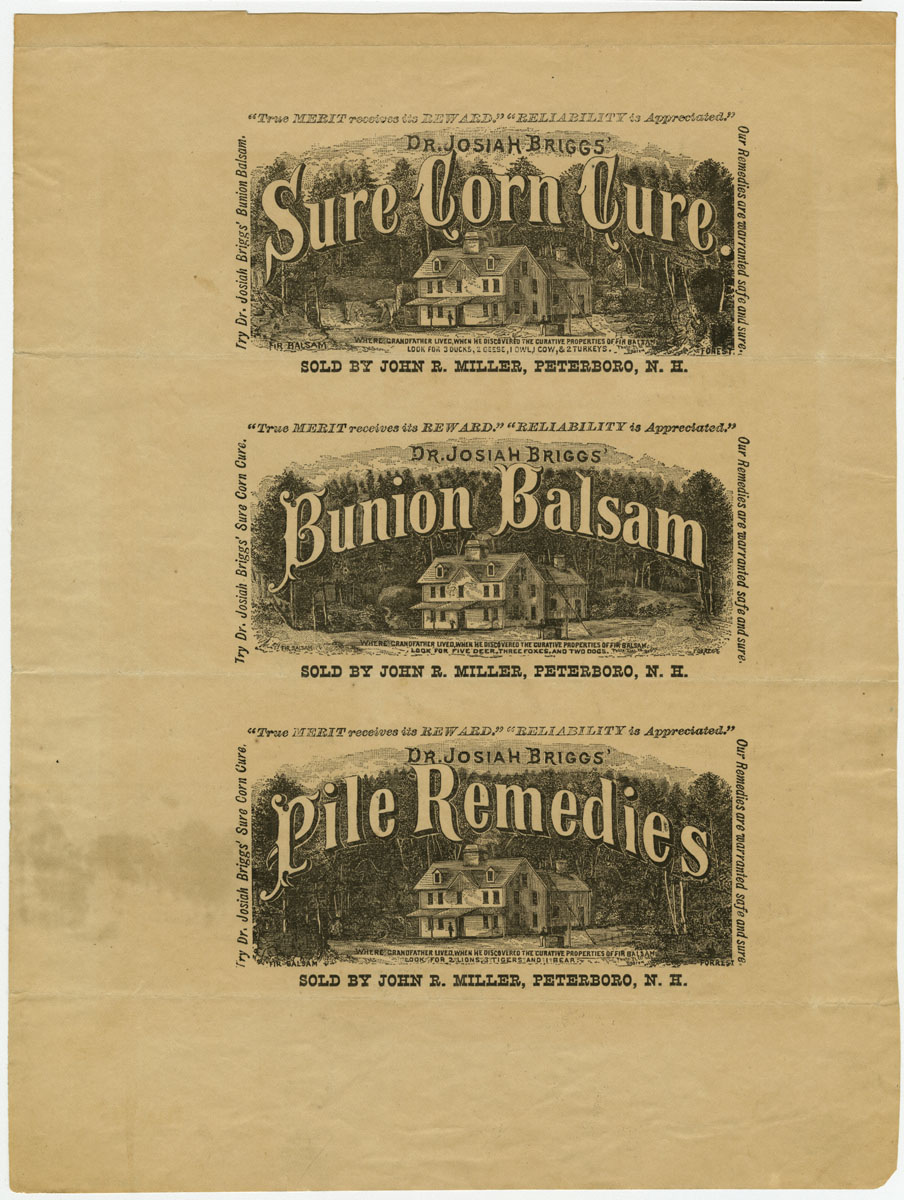 Dr. Josiah Brigg's Sure Corn Cure/Bunion Balsam/Pile Remedies. Uncut proof sheet of labels, ca. 1885.  Photomechanical print. Gift of William H. Helfand