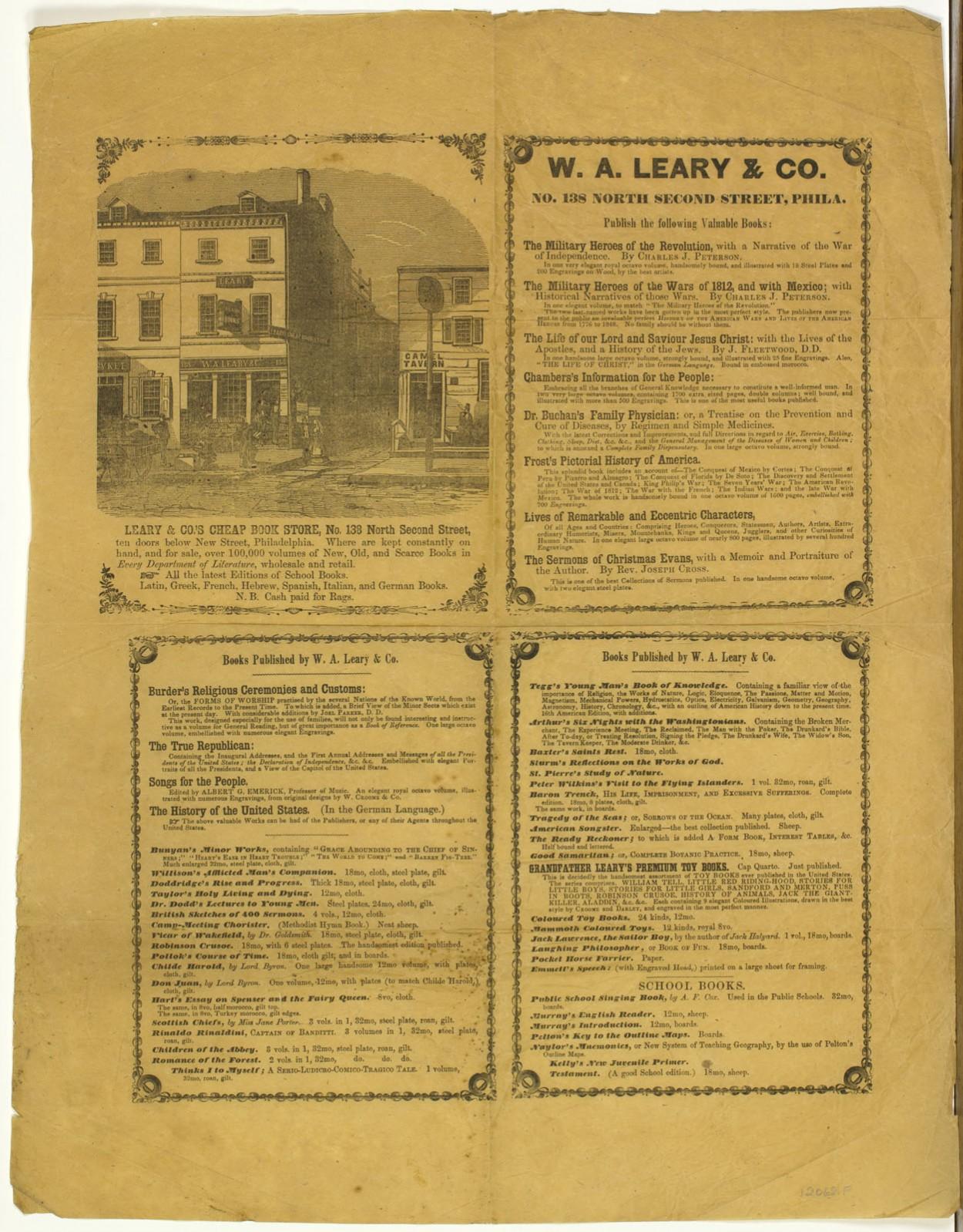 W. A. Leary & Co. Leary & Co.'s Cheap Book Store, No. 138 North Second Street, Ten Doors Below New Street, Philadelphia. Philadelphia, ca. 1849-1852.