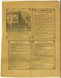 W. A. Leary & Co. Leary & Co.'s Cheap Book Store, No. 138 North Second Street, Ten Doors Below New Street, Philadelphia. Philadelphia, ca. 1849-1852.