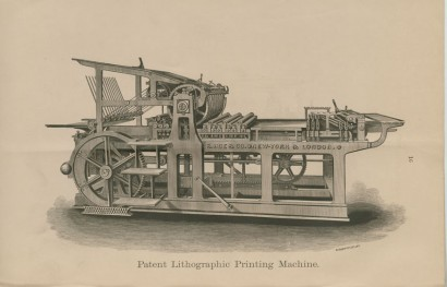 """Patent Lithograph Printing Machine"" in R. Hoe & Co., Printing Press, Machine & Saw Manufacturers. New York: Hoe & Company, 1876."