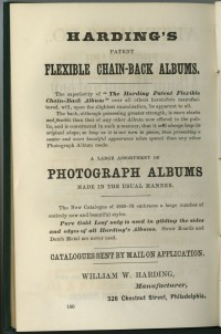 "Advertisement for ""Harding's Patent Flexible Chain-Back Albums"" in Photographic Mosaic (1870). Reproduction."