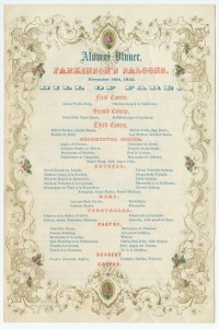 University of Pennsylvania Alumni Dinner. Parkinson's Saloons. November 16, 1852. Bill of Fare. Philadelphia: George G. Evans, 1852.
