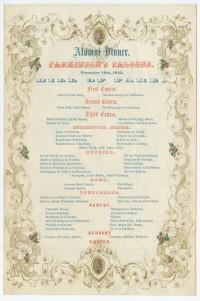 University of Pennsylvania Alumni Dinner. Parkinson's Saloons. November 16, 1852. Bill of Fare. Philadelphia: George G. Evans, 1852.