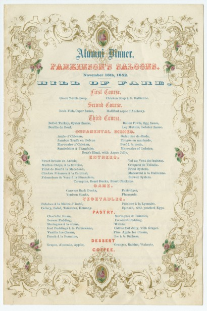 University of Pennsylvania Alumni Dinner. Parkinson's Saloons. November 16, 1852. Bill of Fare.