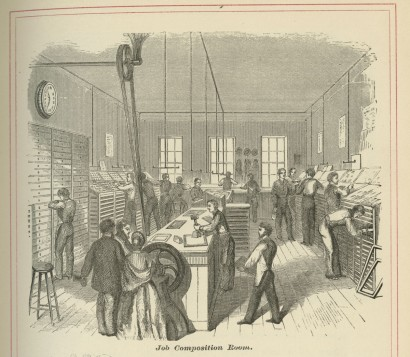 """Fire Proof Safe for Plates"" and ""Job Composition Room"" in Geo. C. Rand & Avery. R & A Specimens. Boston, ca. 1870."
