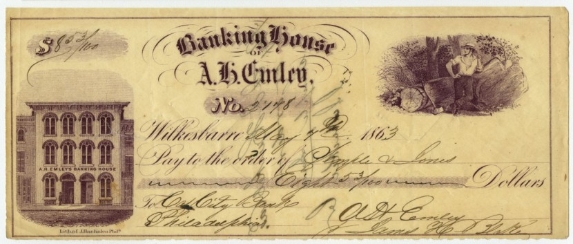 Banking House of A. H. Emley. Philadelphia: Lith. of J. Haehnlen, printed ca. 1860, issued 1863. Lithograph. Gift of Dr. Don Yoder and William Woys Weaver.
