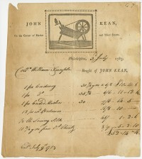 John Kean, on the Corner of Market and Third Streets. Philadelphia, printed ca. 1780, issued 1783.