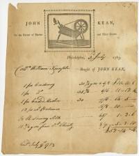 John Kean, on the Corner of Market and Third Streets. Philadelphia, printed ca. 1780, issued 1783.