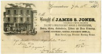 Bought of James S. Jones, Wholesale & Retail Dealer in Fancy & Staple Dry Goods & Trimmings. Germantown, 1850.