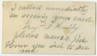 """Calling cards of Wilson H. Blackwell, Mrs. Samuel McClintock Hamill, and Benjamin F. Huddy, 19th century. From the Library Company's """"Things Left in Books Collection."""""""